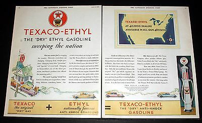 1930 Old Magazine Print Ad, Texaco Ethyl, The Dry Gasoline Sweeping The Nation!