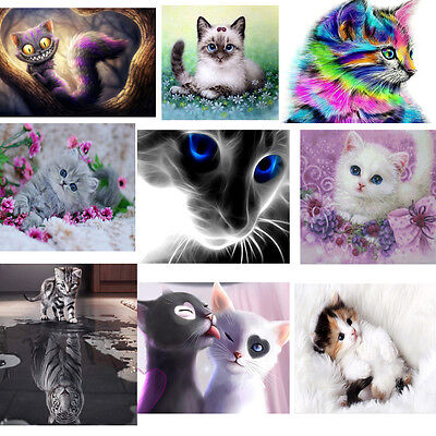 Animals DIY 5D Diamond Painting Cat Embroidery Cross Stitch Craft Home Decor New