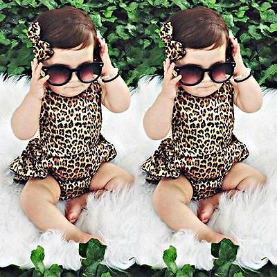 Newborn Toddler Baby Girl Leopard Dress Bodysuit Romper Jumpsuit Outfits Clothes