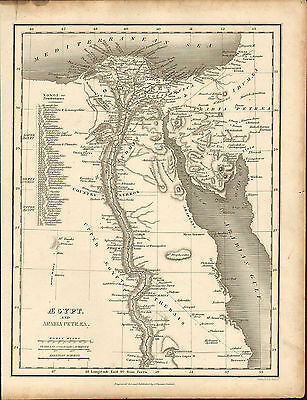 1828 map of egypt & arabia petraea . engraved & published by j.vincent of oxford