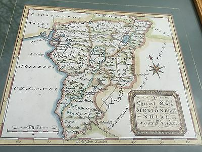 1748 framed map of merionethshire in north wales