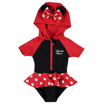 DISNEY MINNIE MOUSE NEWBORN BABY GIRLS HOODED SWIMSUIT COSTUME (6-9 Months)
