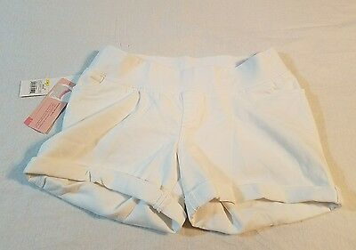 NEW LIZ LANGE Maternity White Denim Shorts-Under the Belly SIZE X-SMALL  #R
