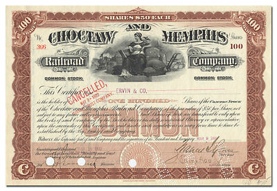 Choctaw and Memphis Railroad Company Stock Certificate