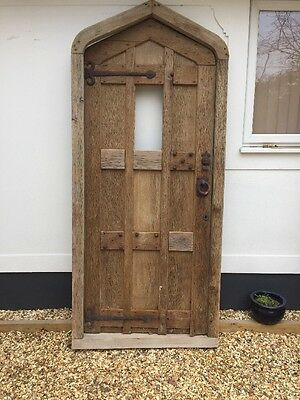 Large Solid Oak Tudor Front Door Antique Period Reclaimed Old Arched Iron C1760