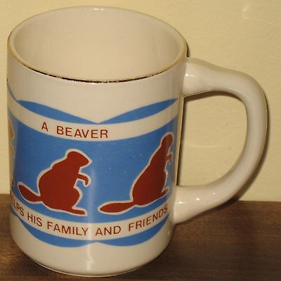 Vintage Beavers' Law Scouts Canada Coffee Mug Cup Gold Trim