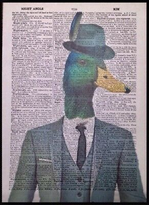 Humanised Duck Vintage Dictionary Page Wall  Picture Print Animal Bird Hipster