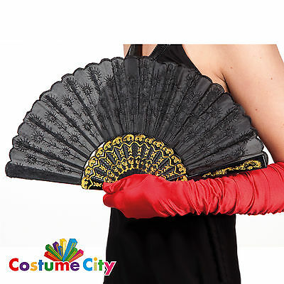 Black Spanish Lace Folding Dance Hand Fan Fancy Dress Costume Accessory