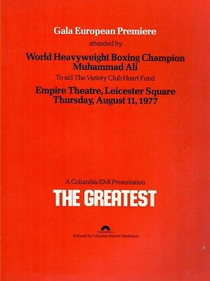 The Greatest (Muhammad Ali) 1977 Film Premiere Programme Signed