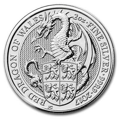 2oz (Troy) Red Dragon of Wales, Queens Beasts, 999.9 Fine Silver Coin, 2017