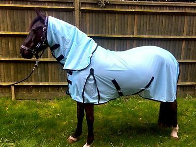 New Horse fly rug combo attached neck Turquoise/Baby Blue various size PROMOTION