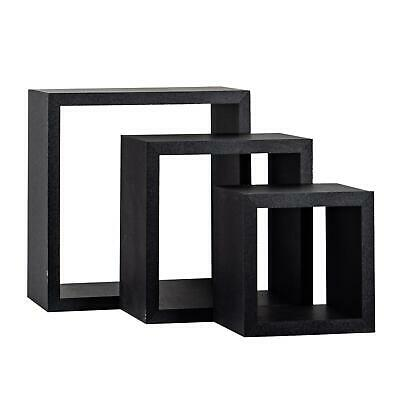 Square Display Shelves Floating Wooden Wall Storage - 3 Sizes - Black - Set of 3
