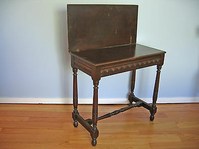 Antique Folding-top Side Table with Hidden Storage. Solid wood [Exton, PA 19341]