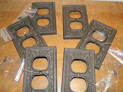 Set/6 Fluer De Lis French Cast Iron Wall Electric Plug Double Outlet Cover Plate