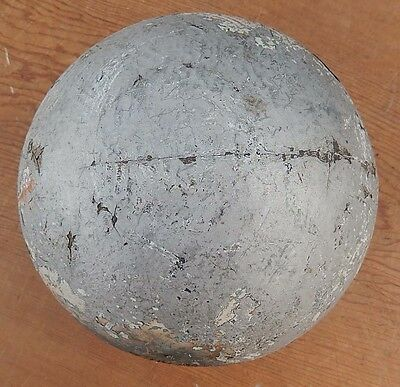 "Antique 19th Century Round Wooden Ball Exterior Flag Pole Topper 7"" Diameter -B1"