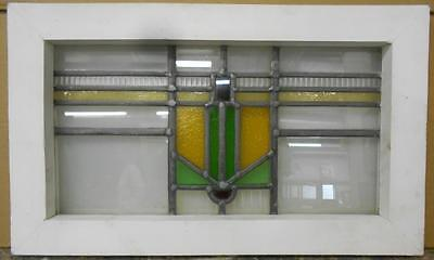 "OLD ENGLISH LEADED STAINED GLASS WINDOW Nice Geometric 20.5"" x 12.25"""