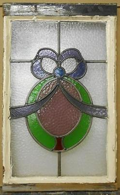 "MID SIZED OLD ENGLISH LEADED STAINED GLASS WINDOW Beautiful Ribbon 15.5"" x 25"""
