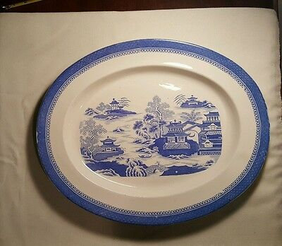 Antique Copeland Spode Staffordshire Pottery Tray Platter Blue & White - 17""