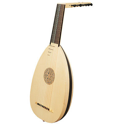 Muzikkon Linke Hand Renaissance Laute, 8 Course Variegated Maple Ebony