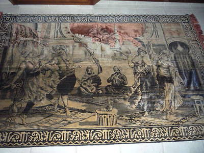 """Beautiful Large Antique vintage Italian scene Wall Hanging Tapestry  80"""" x 50"""""""