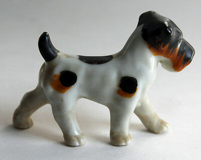Vintage Wirehaired Terrier Parson Russell  Dog Figurine Japan Small Porcelain
