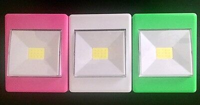3pk 120 Lumen Battery Operated COB LED Bright Night Light Switch Wireless Mixed