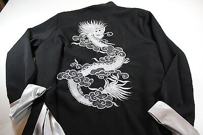 Asian Dragon Embroidered Stitched Oriental Knot Tie Jacket Shirt XL Satin Lined