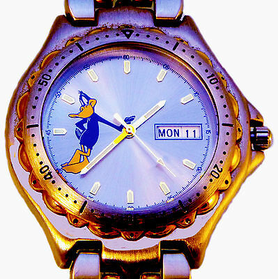 Daffy Duck, Fossil Blue Style 2 Tone Case And Links Day/Date Easy Read Watch $99