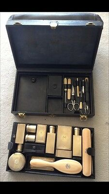 Antique French Travel Case by Gustav Keller complete with 11 vermeil silver pcs