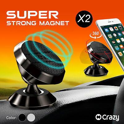 2 X Universal Car Holder Mount Cradle 360 Ball Magnetic for iPhone Galaxy GPS