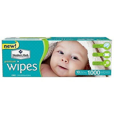 Members Mark Premium Baby Wipes 1000 Count Hypoallergenic Diaper Triple Layer