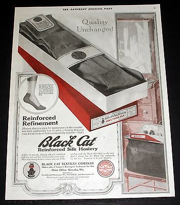 1918 Old Magazine Print Ad, Black Cat Textiles, Reinforced Quality Silk Hosiery!