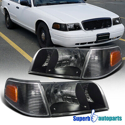 1998-2011 Ford Crown Victoria Black Crystal Headlights w/ Corner Signal Lamps
