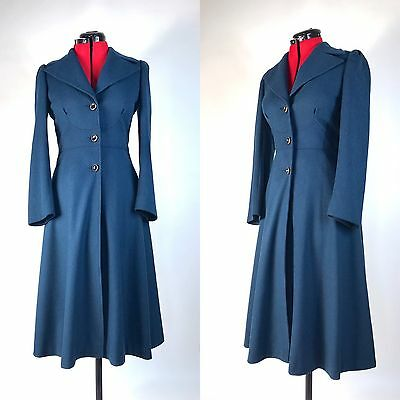 VTG 1940s 1950s Prussian Blue Princess Coat Fit And Flair Size Small