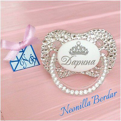 Personalized pacifier with Swarovski Crystals. Baby Shower Gift. Bling pacifier.