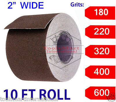 "2"" Wide Emery Cloth 10ft Roll, Aluminum Oxide, Cloth Back 180 Grit Fine"