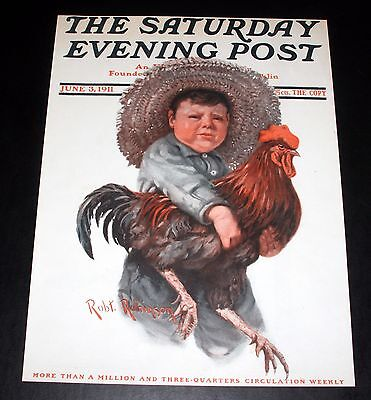 1911 Old Saturday Evening Post Magazine Cover, June 3, R. Robinson, Rooster Art!