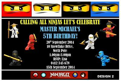 Personalised Lego Ninjago Kids Party Invitations Invites Digital You