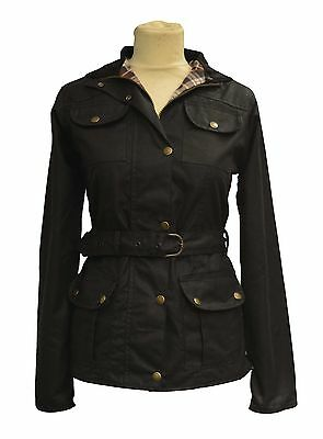 Ladies Belted Fitted Waxed Cotton Jacket Biker Style Waterproof BLACK