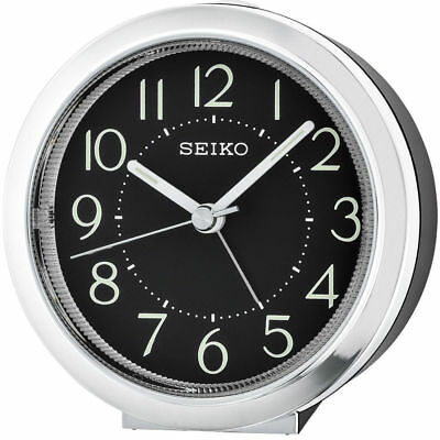 BRAND NEW Seiko Silent Sweep Alarm Clock Black Face Light - QHE146A