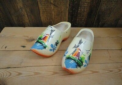 Pair Wooden Handpainted Clogs Collectable X