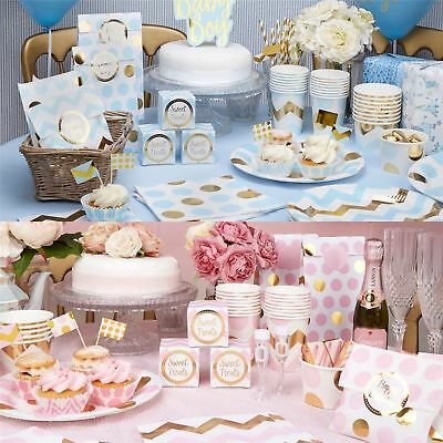 Pattern Works Baby Shower Decorations Tableware Pink Blue Mum Chevron Games