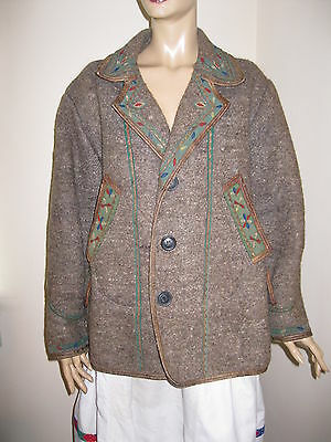 Antique Romanian peasant costume COAT fr Transylvania , handmade wool coat M/L
