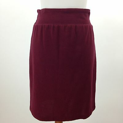 Tummys Red Pull On Wide Waist Band Stretch Knit Maternity Skirt Size Small