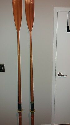 """Pr. Vintage F. Collar 90"""" Sculling Scull Boat Rowing Oars ~ Oxford England RARE"""