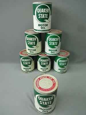 Quaker State Motor Oil Cans Lot Of 7 Full Vintage HD 1 Quart SAE 20-20W