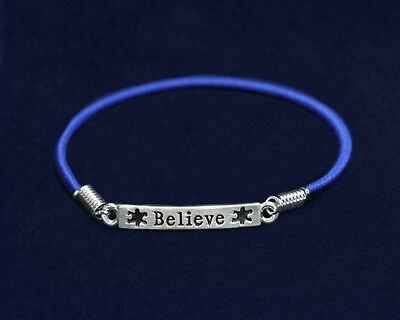 Lot of 25 Autism Believe Stretch Charm Bracelets