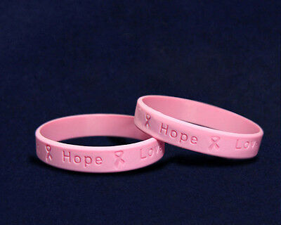 Lot of 25 Pink Ribbon Breast Cancer Awareness Silicone Bracelets - Child Size