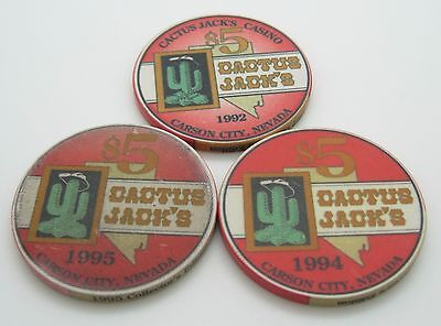 Set of 3 Cactus Jack's $5 Casino Chip Carson City Nevada ChipCo. FREE SHIPPING