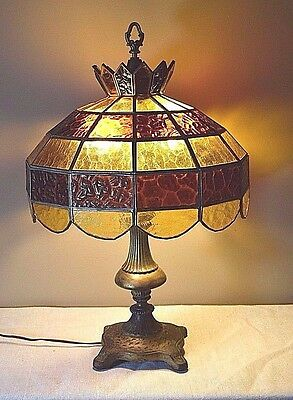 Vintage Brass/Metal 2 Bulb Lamp w/ Large Leaded Amber Glass Shade